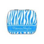Estampado de zebra azul claro con el texto de enca jarrones de dulces