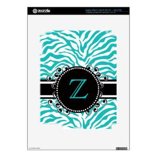 Estampado de zebra azul con el monograma pegatinas skins para iPad 3