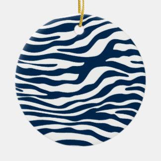 Estampado de zebra azul de medianoche oscuro adornos