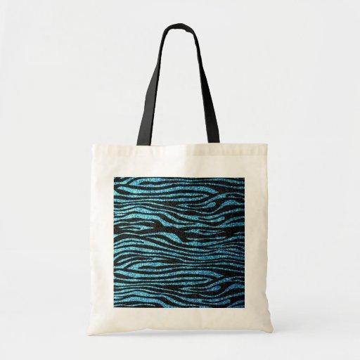 Estampado de zebra azul (falso brillo bling) bolsa tela barata
