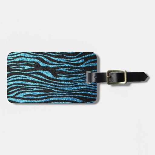 Estampado de zebra azul (falso brillo bling) etiqueta para equipaje