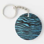 Estampado de zebra azul (falso brillo bling) llavero