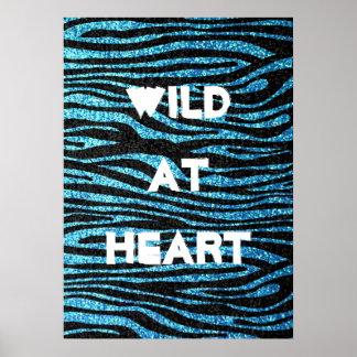 Estampado de zebra azul (falso brillo bling) póster