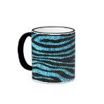 Estampado de zebra azul (falso brillo bling) taza