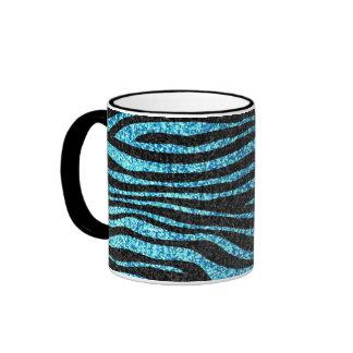 Estampado de zebra azul (falso brillo bling) taza de dos colores