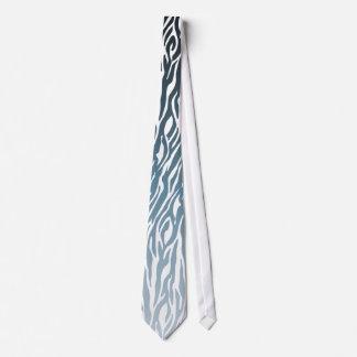 Estampado de zebra azul salvaje Ombre Corbata