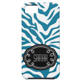 Estampado de zebra azul y blanco con el Nametag de iPhone 5 Carcasa