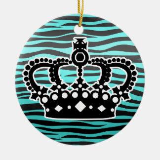 Estampado de zebra azul y negro de la princesa adorno navideño redondo de cerámica