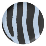 Estampado de zebra azul y negro plato para fiesta