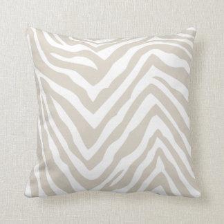 Estampado de zebra beige y blanco de lino cojín decorativo
