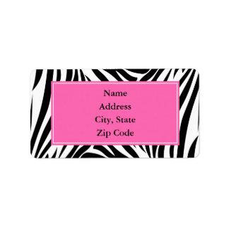 Estampado de zebra blanco y negro con rosas fuerte etiqueta de dirección