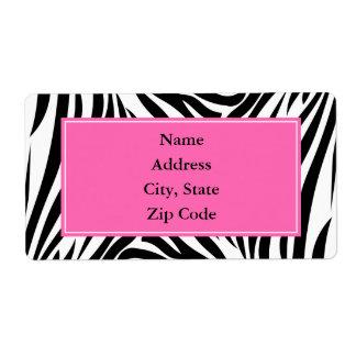 Estampado de zebra blanco y negro con rosas fuerte etiquetas de envío