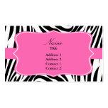 Estampado de zebra blanco y negro con rosas fuerte plantilla de tarjeta personal