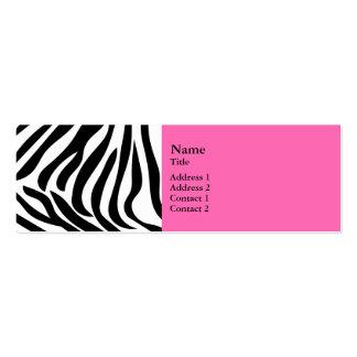 Estampado de zebra blanco y negro con rosas fuerte tarjeta de visita
