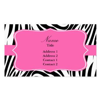 Estampado de zebra blanco y negro con rosas fuerte tarjetas de visita