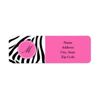 Estampado de zebra blanco y negro del monograma co etiqueta de remitente
