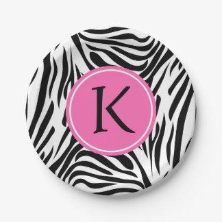 Estampado de zebra blanco y negro del monograma plato de papel de 7 pulgadas