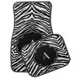 Estampado de zebra blanco y negro inicial con mono alfombrilla de coche