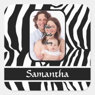 Estampado de zebra blanco y negro personalizado pegatina cuadrada