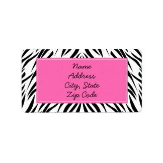 Estampado de zebra blanco y negro y de las rosas f etiquetas de dirección