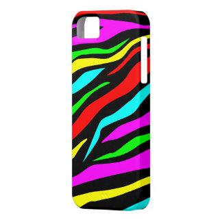 Estampado de zebra colorido negro fresco - caso de iPhone 5 cárcasas