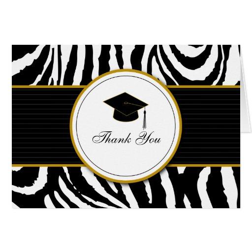 Estampado de zebra con el casquillo: Oro Tarjetas