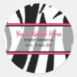 Estampado de zebra con las etiquetas de dirección pegatinas redondas