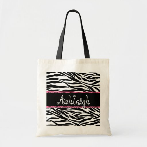 Estampado de zebra conocido de encargo rosado blan bolsa tela barata