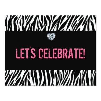 estampado de zebra cualquier edad; cumpleaños invitación 10,8 x 13,9 cm