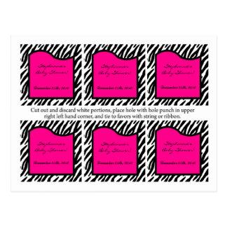 Estampado de zebra de 6 del favor rosas fuertes de tarjeta postal