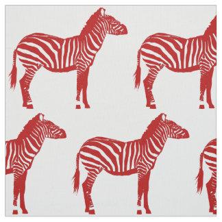 Estampado de zebra - de color rojo oscuro y blanco telas