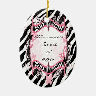 Estampado de zebra de encargo personalizado de la adorno navideño ovalado de cerámica
