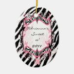 Estampado de zebra de encargo personalizado de la  ornamente de reyes