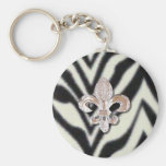 Estampado de zebra de Flor de la flor de lis Llavero Redondo Tipo Pin