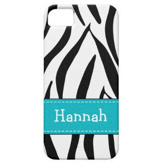 Estampado de zebra de la aguamarina iPhone 5 Case-Mate coberturas