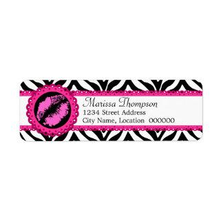 Estampado de zebra de la diversión, beso del lápiz etiqueta de remitente