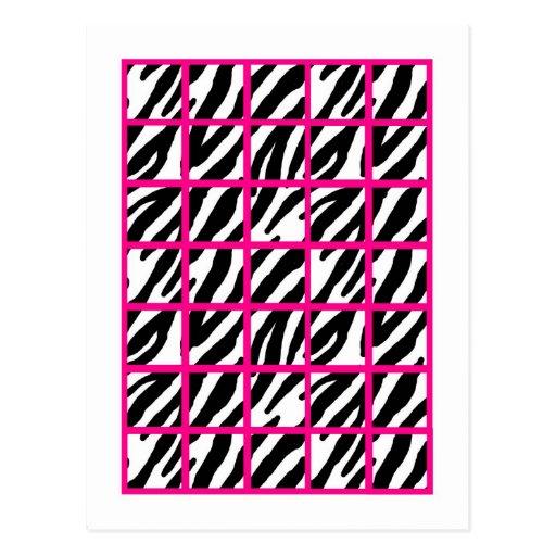 Estampado de zebra de las rosas fuertes de los mar postal