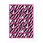 Estampado de zebra de las rosas fuertes de los mar tarjetas postales