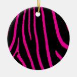 Estampado de zebra de las rosas fuertes ornamento de navidad
