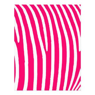 Estampado de zebra de las rosas fuertes y del blan membrete