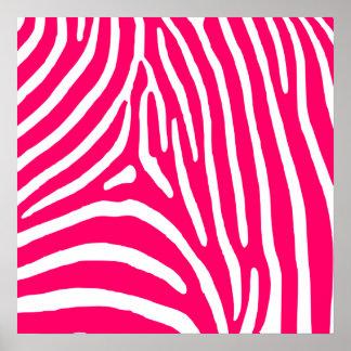 Estampado de zebra de las rosas fuertes y del blan póster