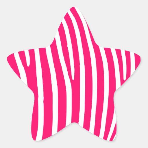Estampado de zebra de las rosas fuertes y del pegatina en forma de estrella