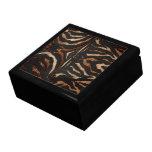 Estampado de zebra de madera y del cuero caja de regalo