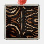 Estampado de zebra de madera y del cuero ornaments para arbol de navidad
