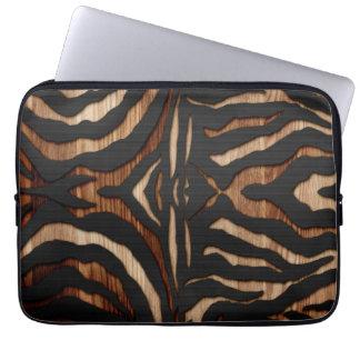 Estampado de zebra de madera y del cuero manga computadora