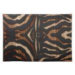 Estampado de zebra de madera y del cuero mantel