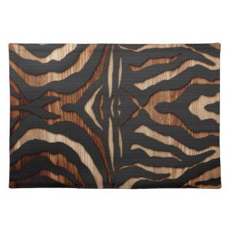 Estampado de zebra de madera y del cuero manteles individuales