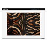 Estampado de zebra de madera y del cuero calcomanías para 38,1cm portátiles