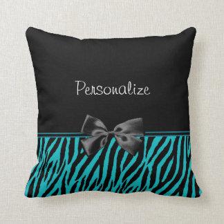 Estampado de zebra de moda del negro y del trullo almohada
