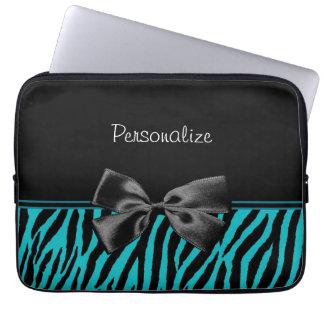 Estampado de zebra de moda del negro y del trullo  manga portátil